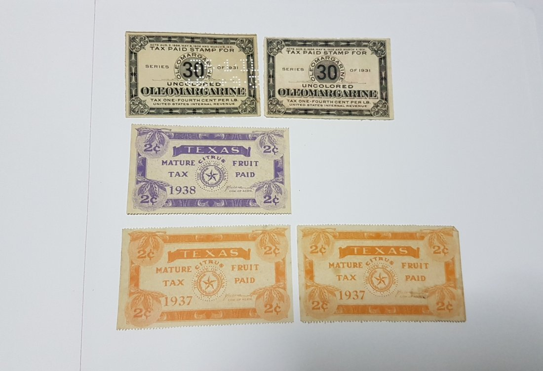 1931/37/38 Texas Mature Fruit & Oleomargarine Tax