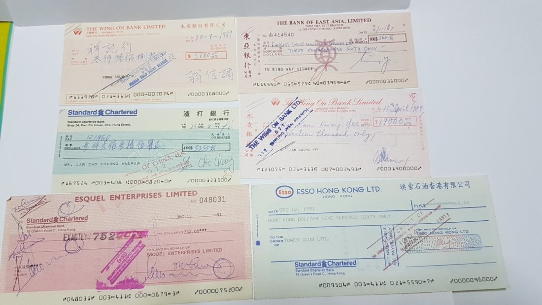 14 Used Cheques from Various  Hong Kong Banks