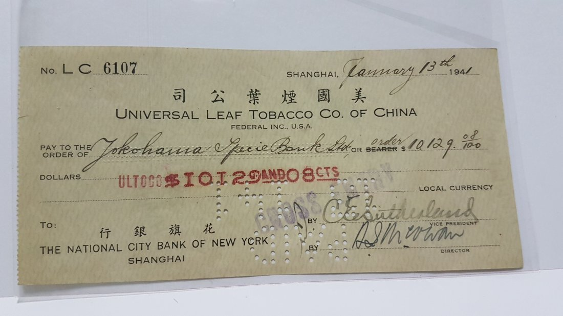 1941 China ShangHai CitiBank of New York Used Cheque