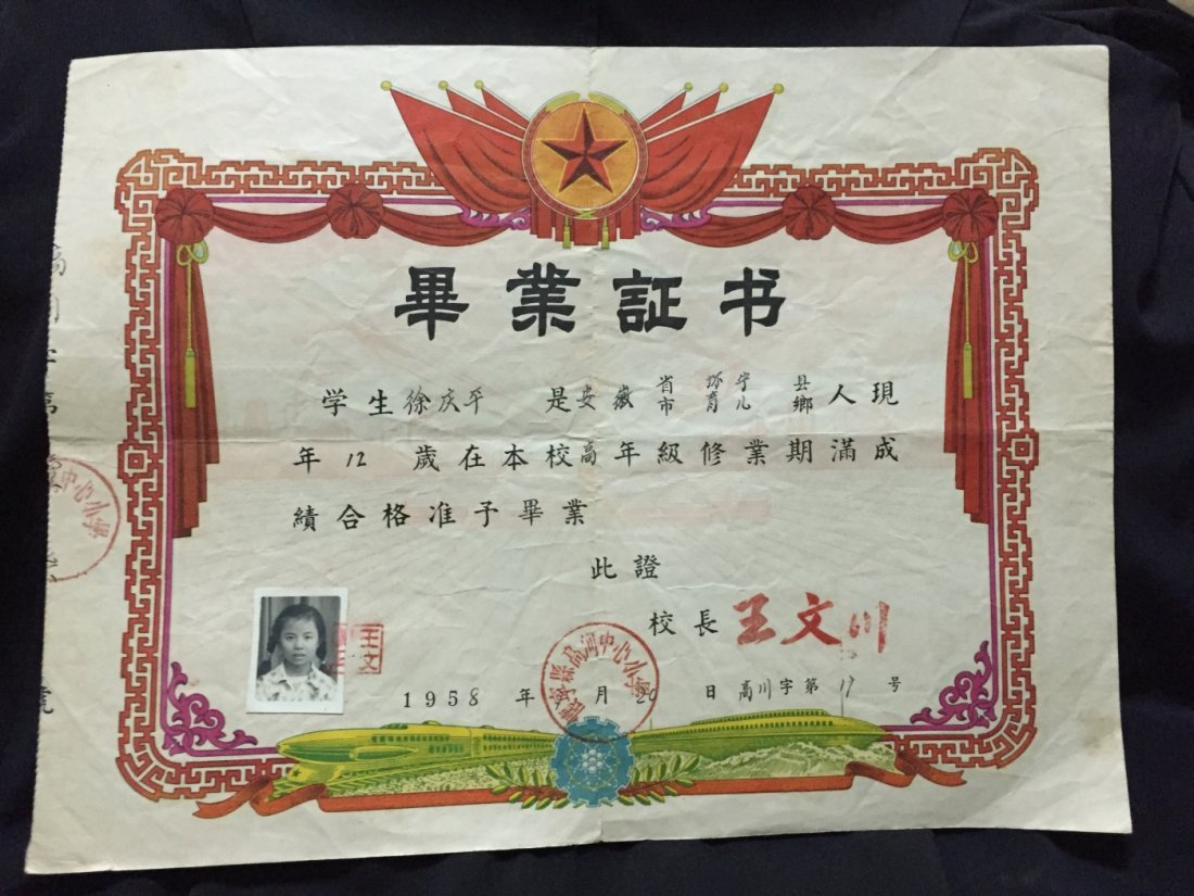1958 China High School Graduation Certificate