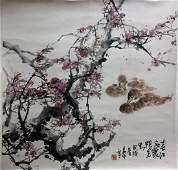 Chinese Scroll Painting of Swimming Ducks Signed