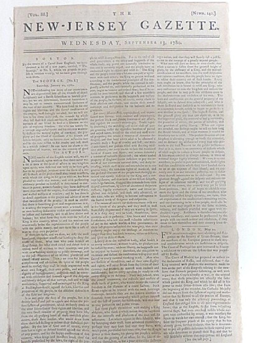 The New Jersey Gazette, 1780