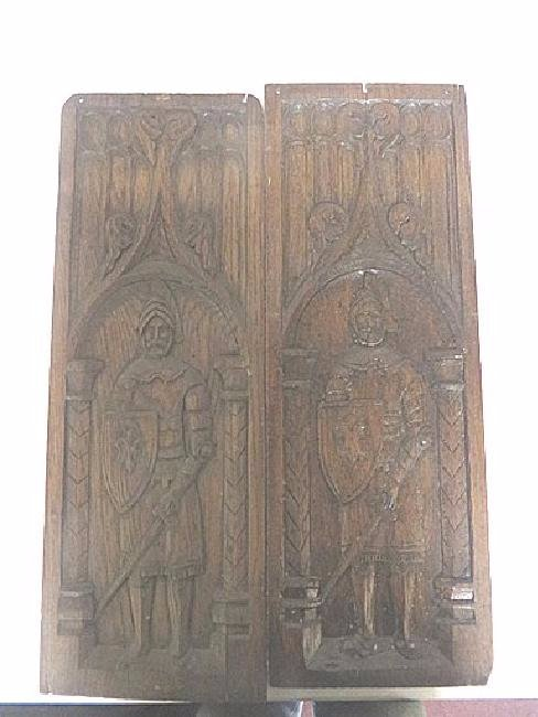 Pair of 19th C. Carved Oak Panels