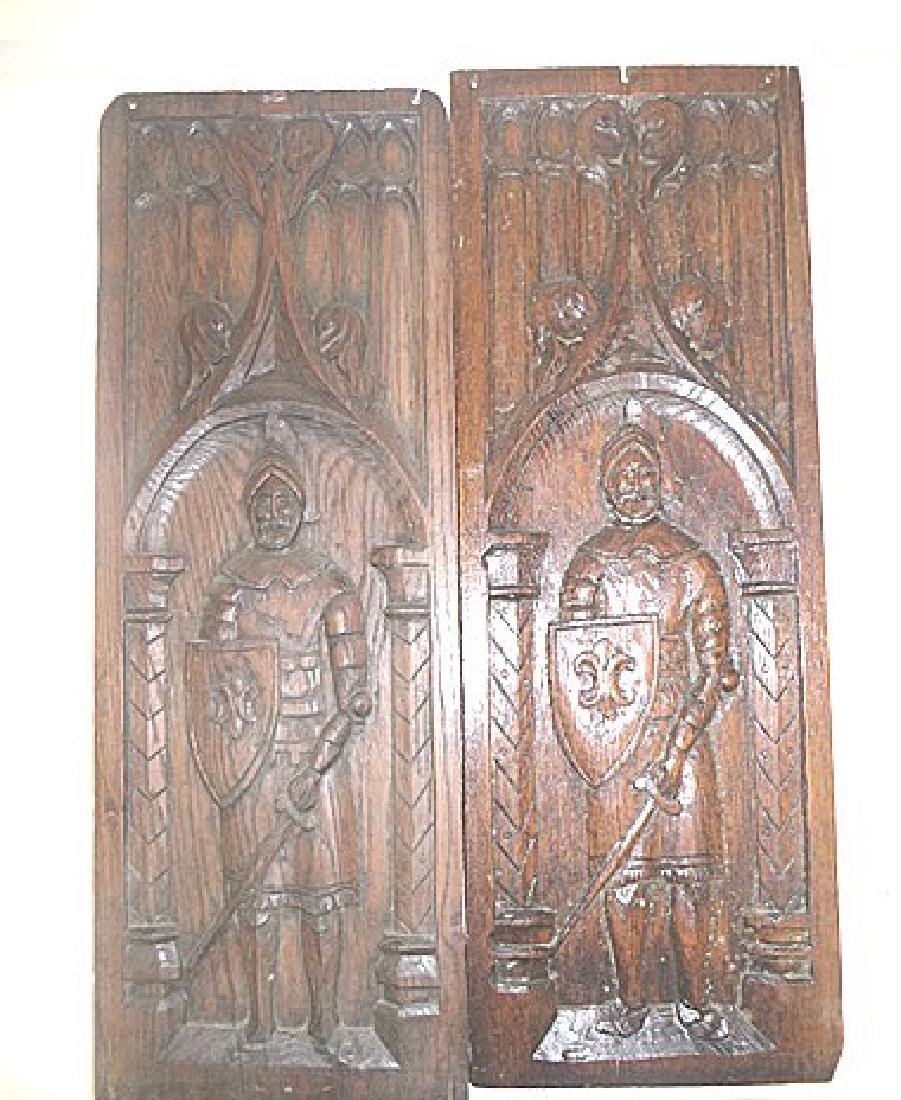 Pair of 19th C. Carved Oak Panels - 2