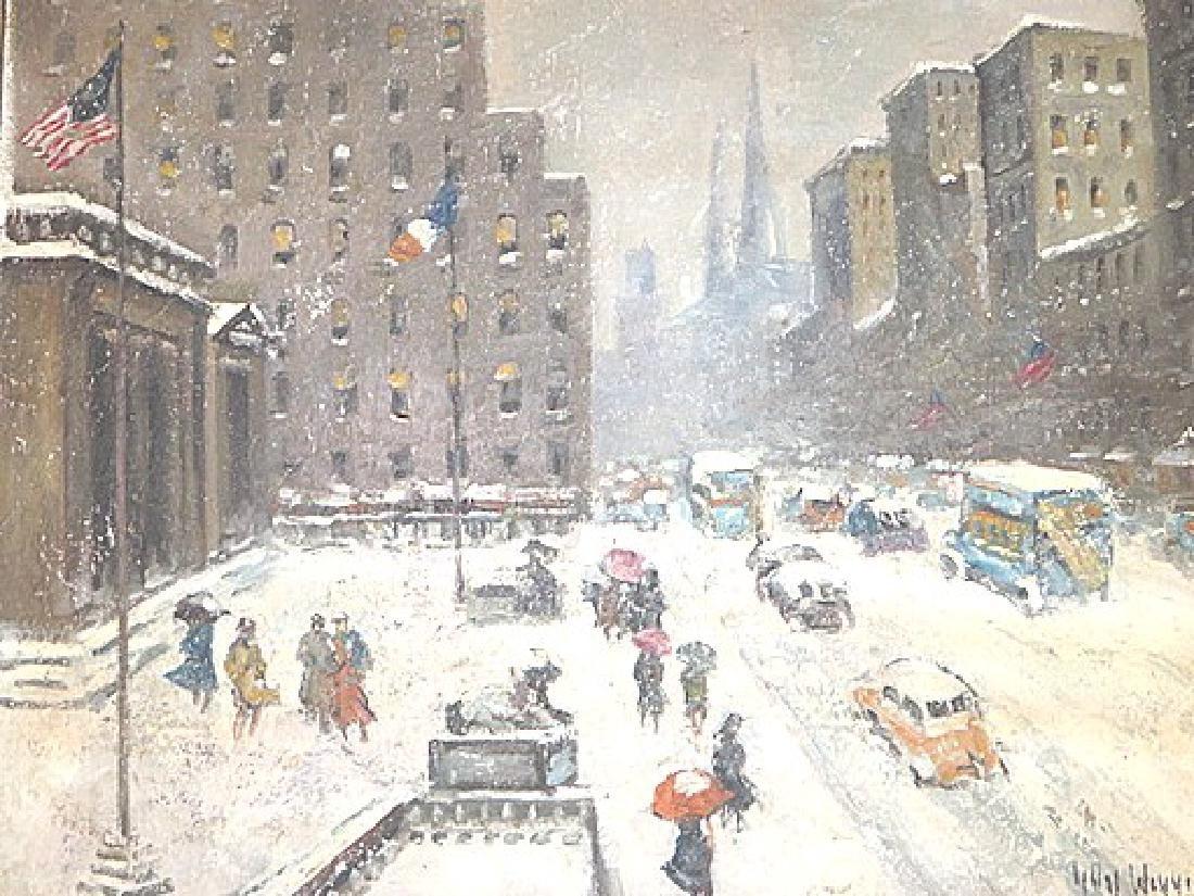 Guy Carleton Wiggins. Attr. to . Oil. NY Street Scene