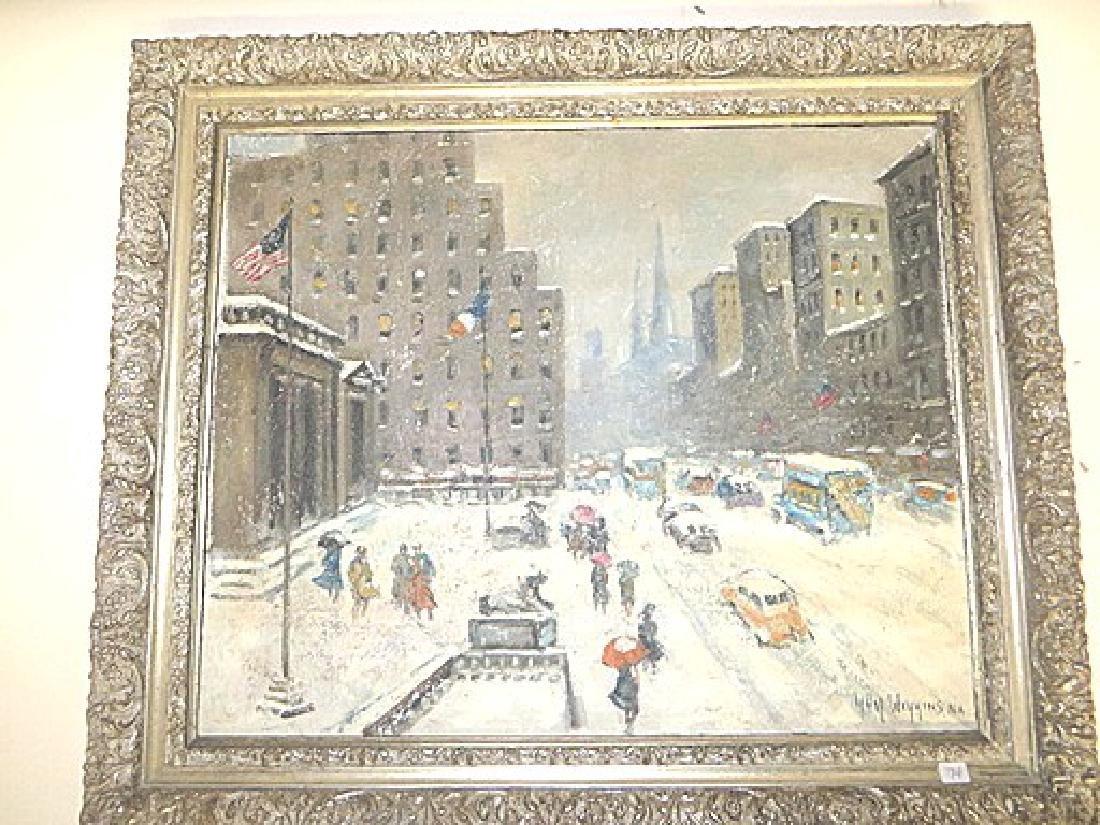 Guy Carleton Wiggins. Attr. to . Oil. NY Street Scene - 2