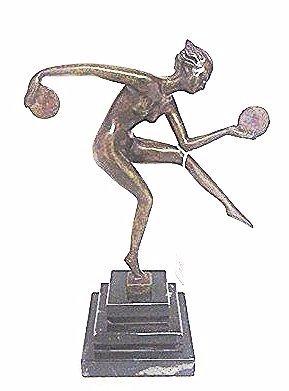 Art Deco Bronze. Dancer with Discs.