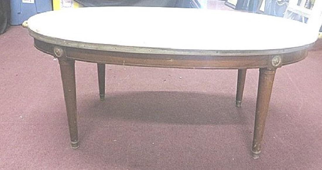 Marble Top Adams Style Table. Brass Mounted