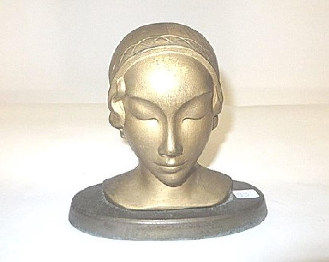 Art Deco Bust of a Girl in Cloche Hat