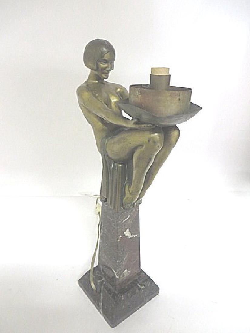 Art Deco Period Bronze Lamp - 3