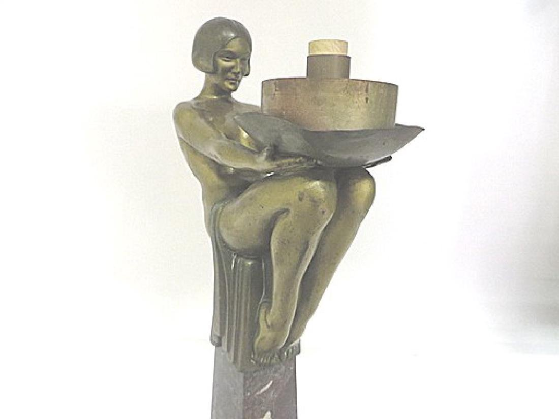Art Deco Period Bronze Lamp - 6
