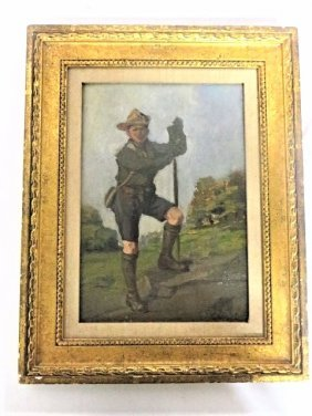 George Luks. American Oil.  The Boy Scout. Signed.