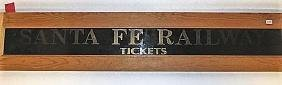 Santa Fe Railway Reverse Painted Glass Sign