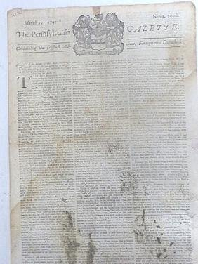 Pennsylvania Gazette  Newspaper. 1747-1776 (4)