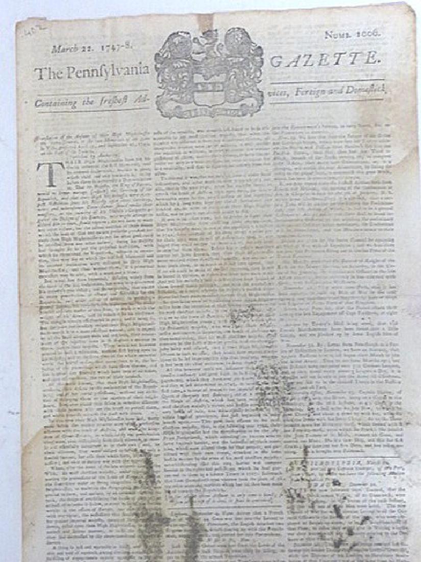 Pennsylvania Gazette  Newspaper. 1747-1776 (4)