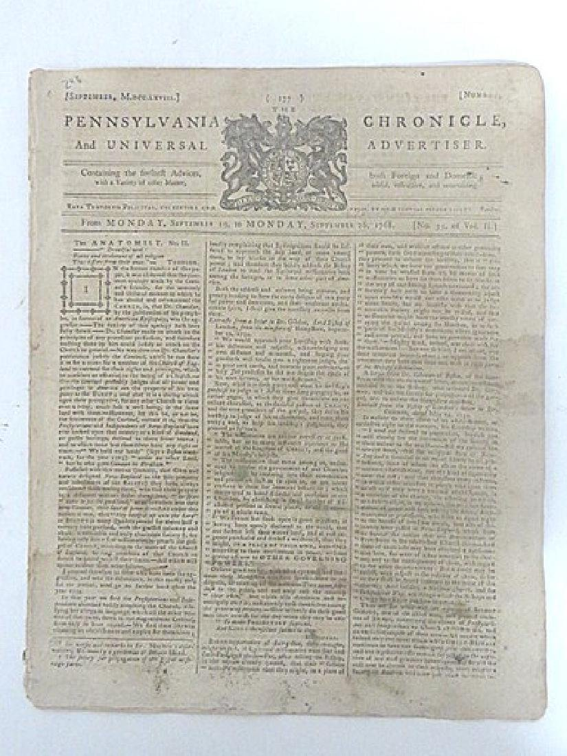 The Pennsylvania Chronicle, Universal Advertiser  1768