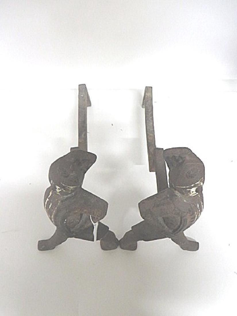 19thC. Hessian Cast Iron Andirons - 2