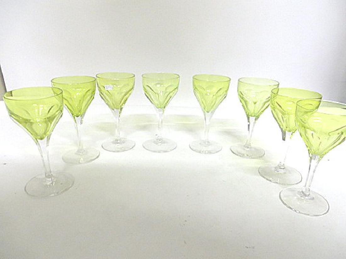 Antique Vaseline Glass Wine Goblets (8)