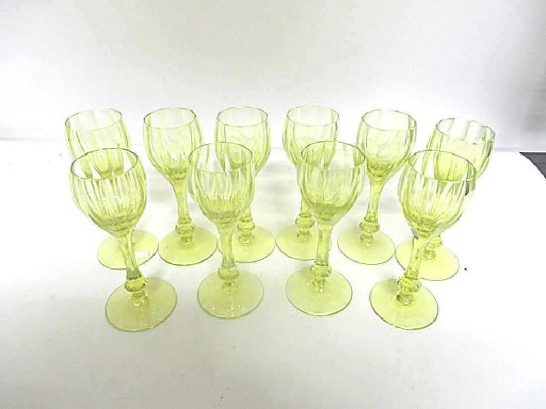Antique Vaseline Glass Wine Goblets (10)