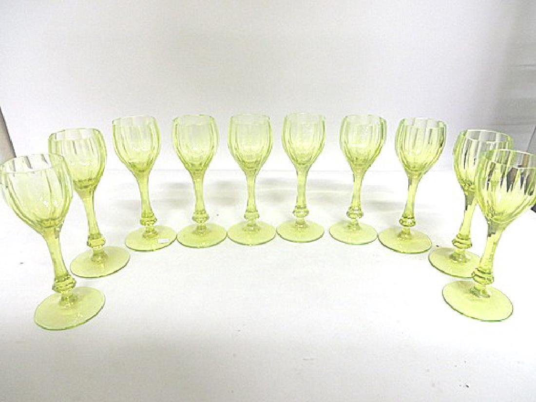 Antique Vaseline Glass Wine Goblets (10) - 2