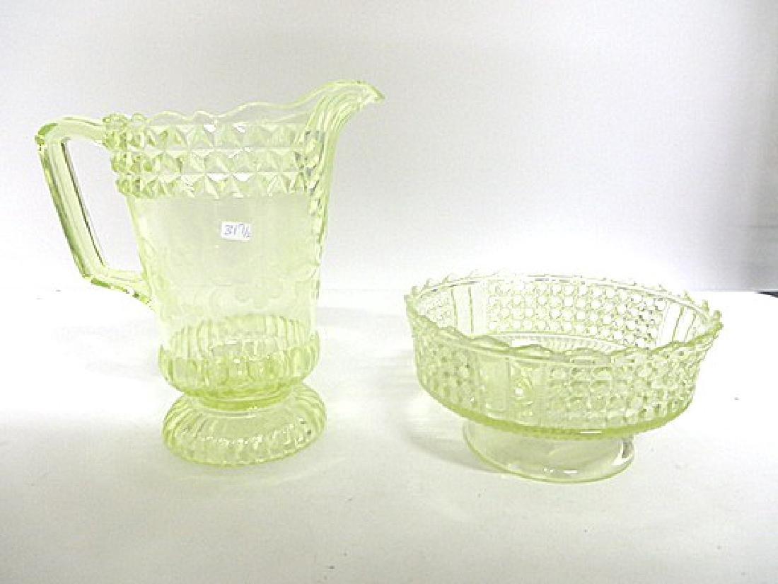 Antique Vaseline Glass Pitcher &  Compote