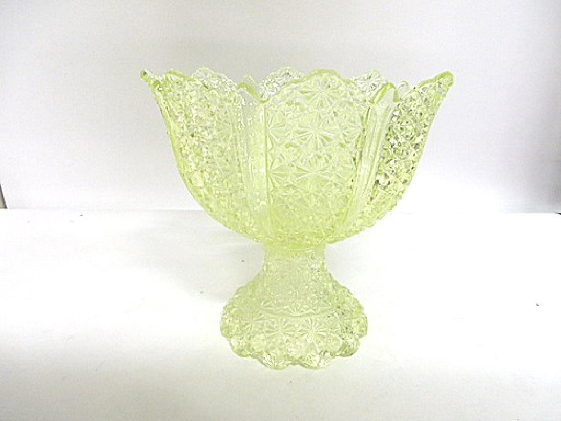 Antique Vaseline Glass Punch Bowl