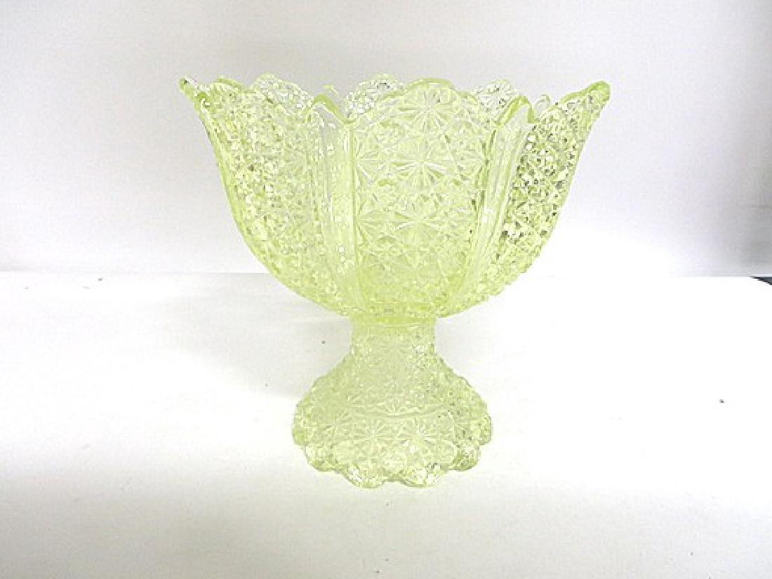 Antique Vaseline Glass Punch Bowl - 2