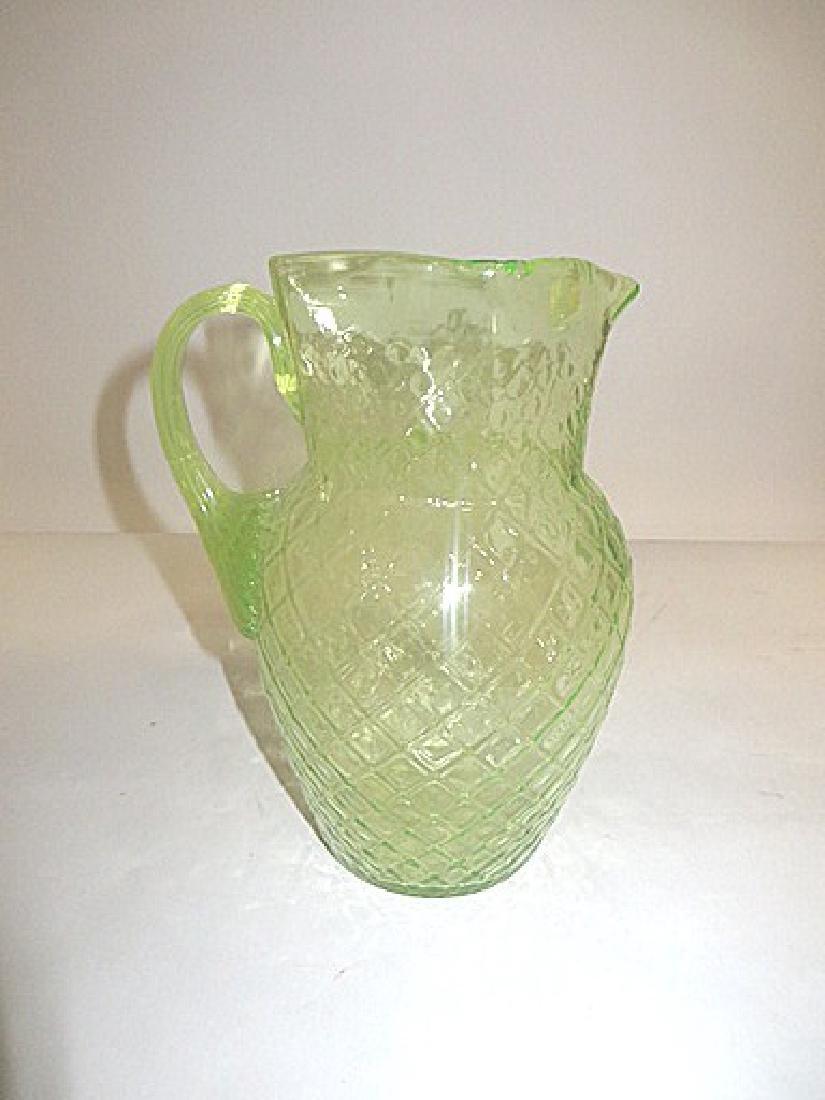 Antique Vaseline Glass Patterned Pitcher