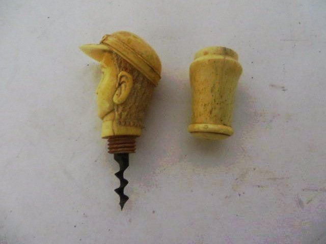 Carved Bone Cork Screw - 3