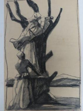 Stephen Ronay. Charcoal Drawing. Signed.