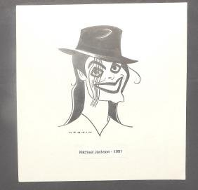 Michael Jackson Pen and Ink Signed