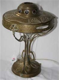 Art Nouveau Jeweled Brass Table Lamp