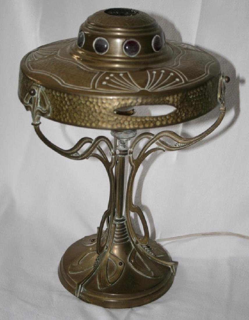 Art Nouveau Jeweled Brass Table Lamp - 2