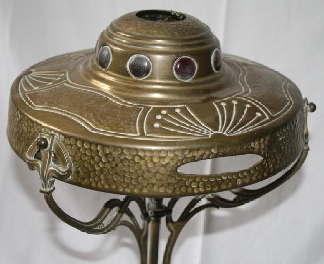 Art Nouveau Jeweled Brass Table Lamp - 3