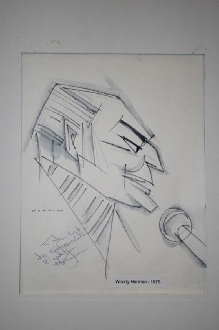 Sam Norkin Pen and Ink. Woody Herman. Signed