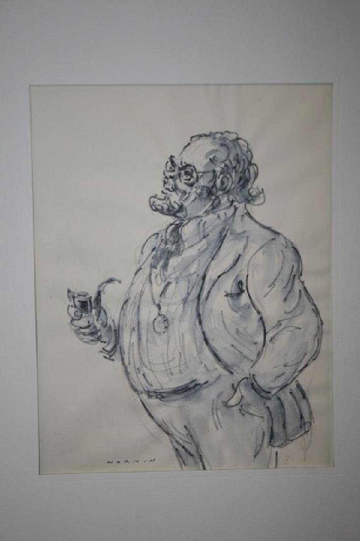 Sam Norkin. Pen and Ink. Signed.