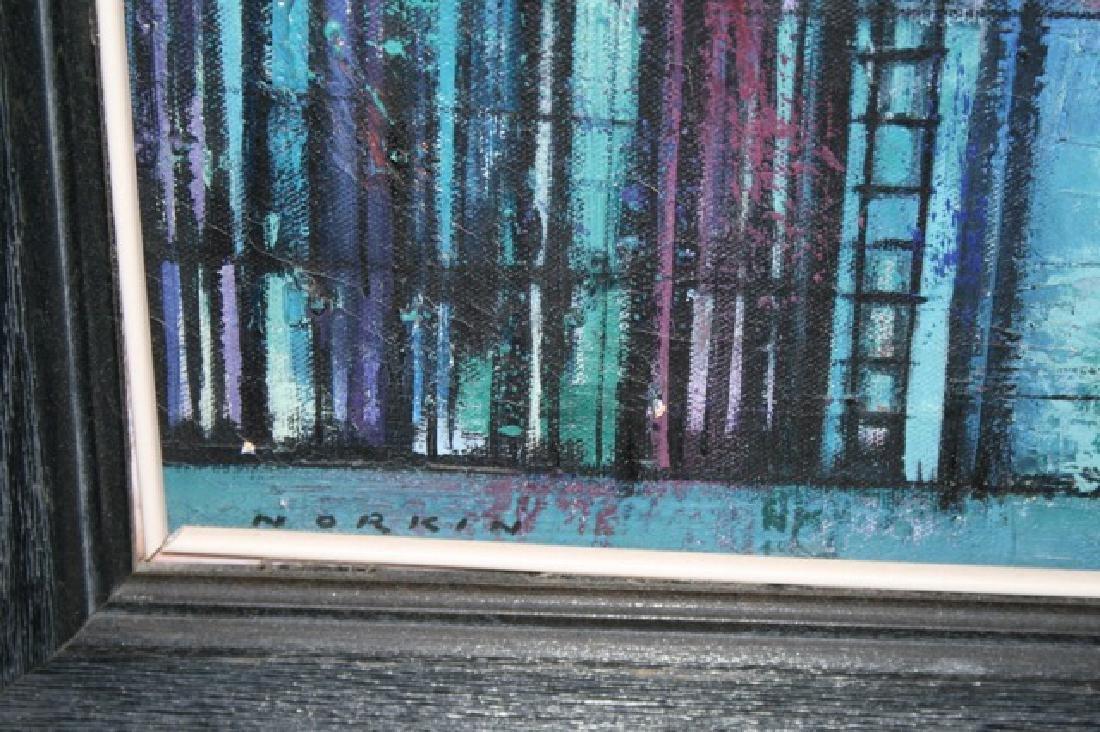 Sam Norkin. Painting. City Windows. Signed - 2