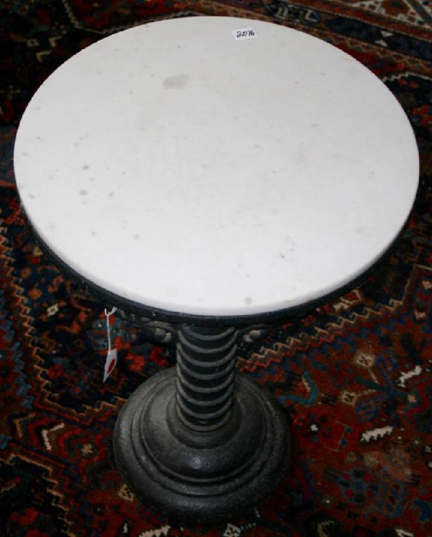 Antique Cast Iron Marble Topped Table - 2