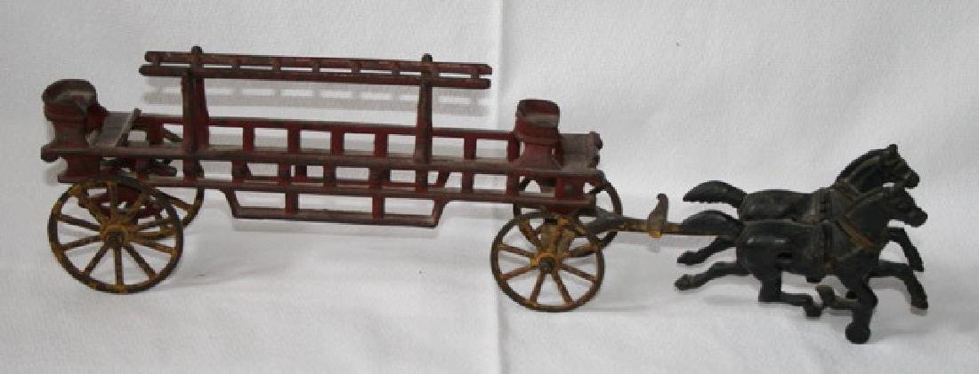 Antique Cast Iron Horse Drawn Fire Truck