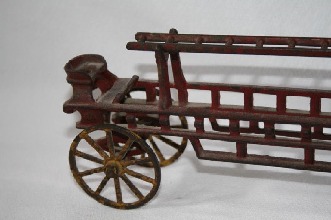 Antique Cast Iron Horse Drawn Fire Truck - 3