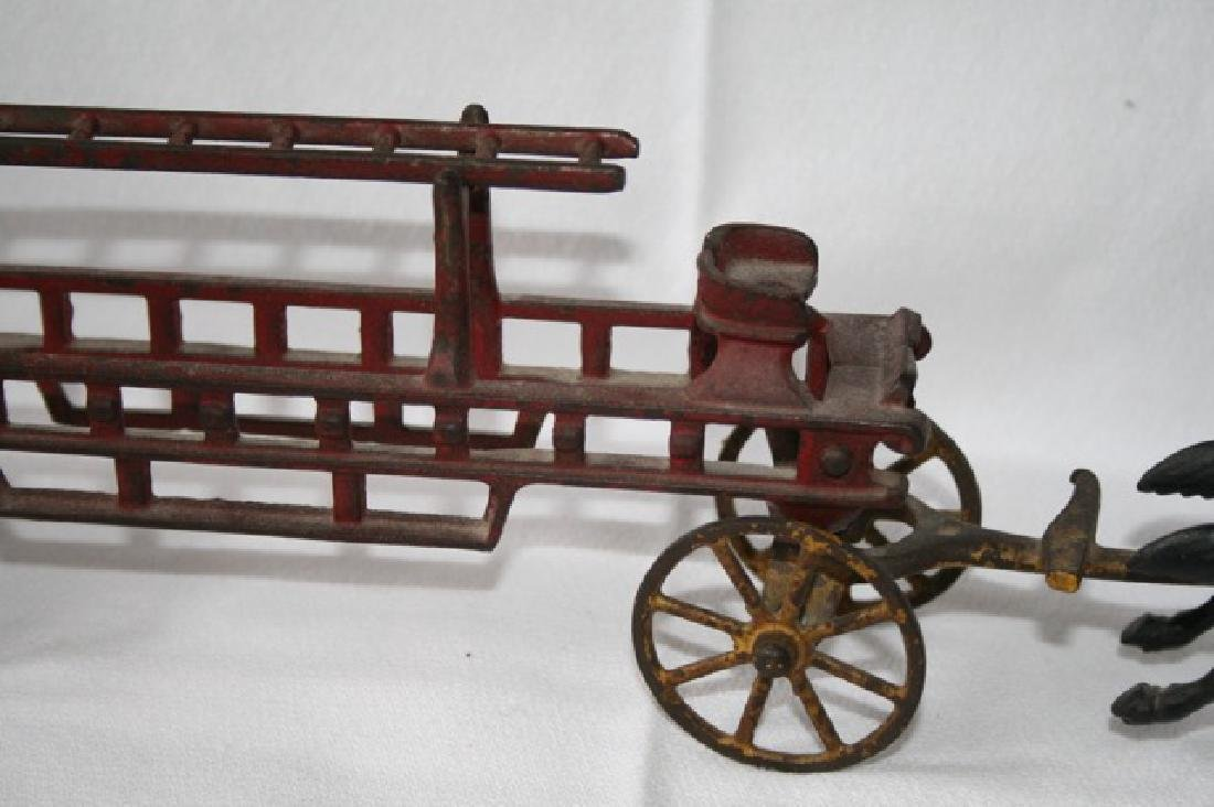 Antique Cast Iron Horse Drawn Fire Truck - 4