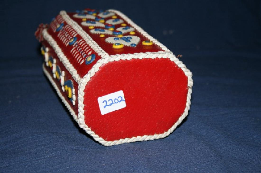 Red Leather and Beaded Vintage Bottle - 3