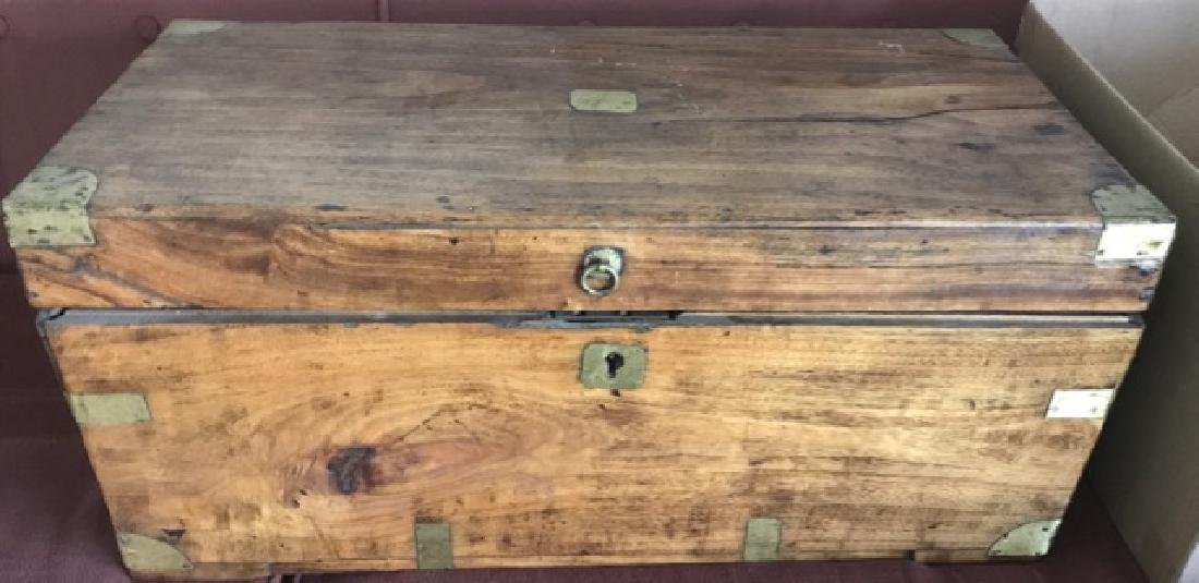 Large Wooden Box with Brass Fittings