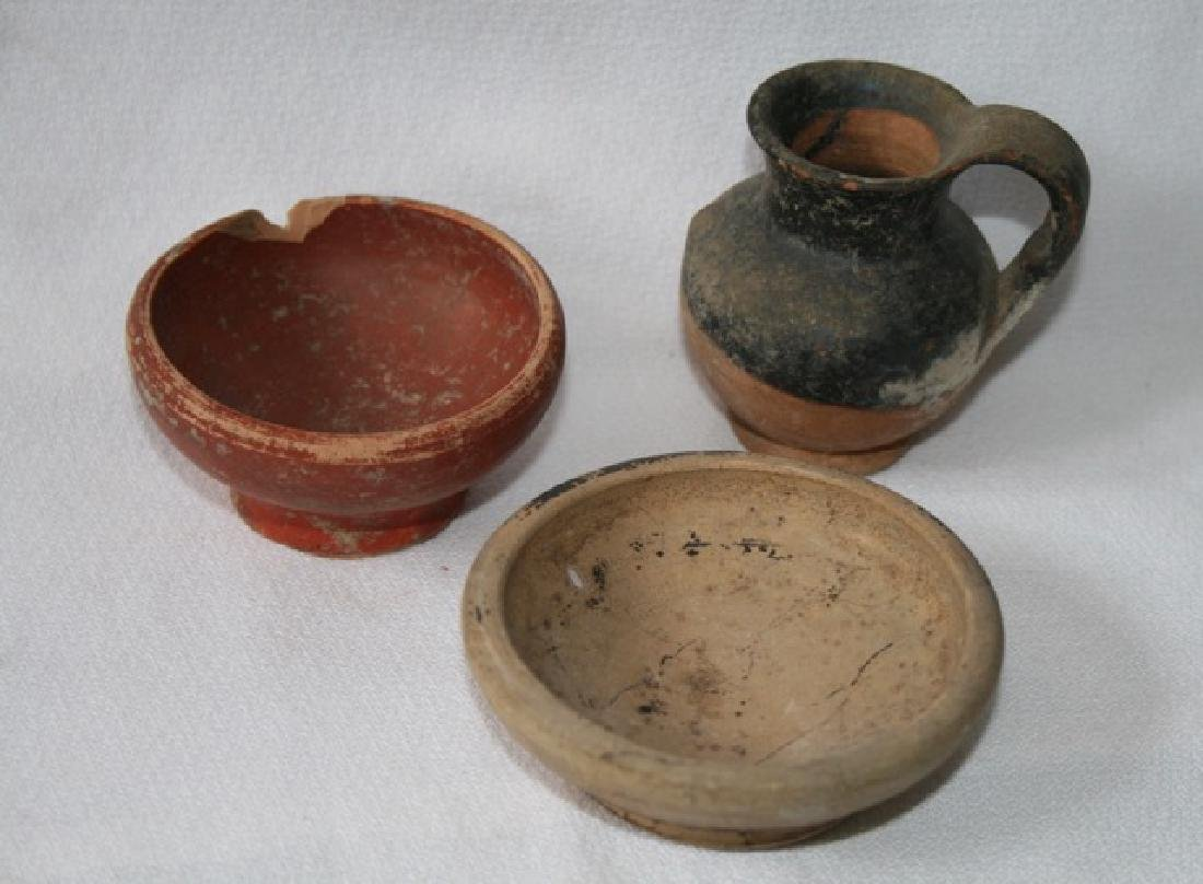 Ancient Roman Bowls (2) and a Creamer (1)