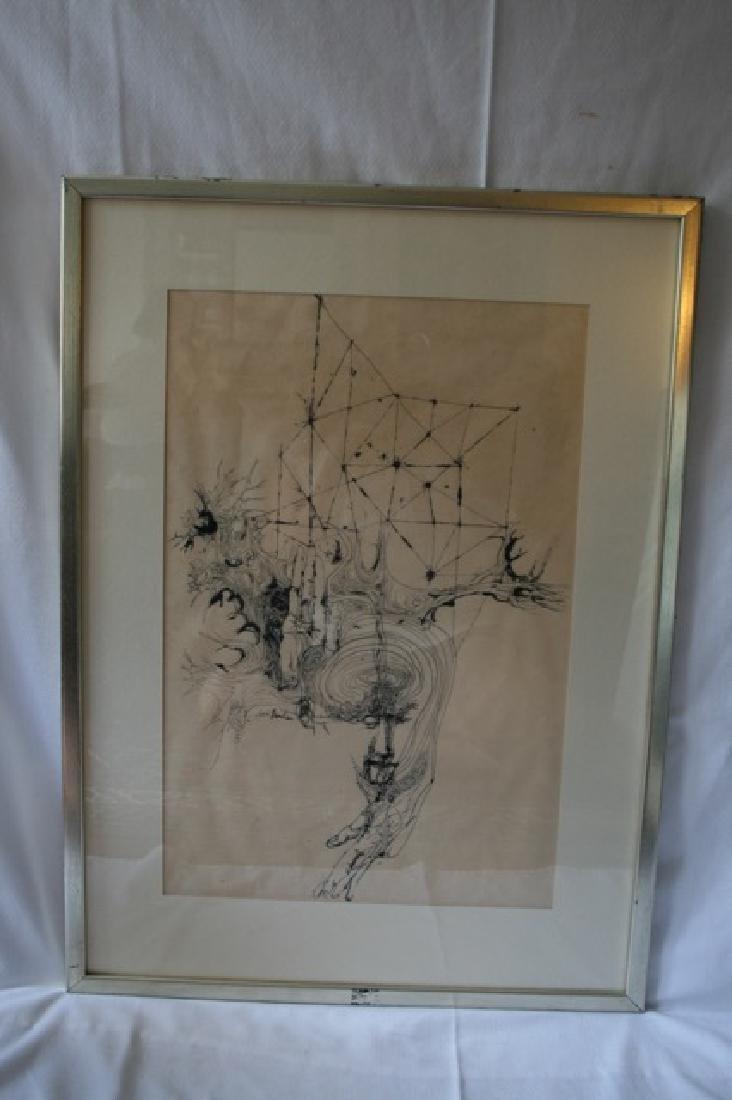 J. Landau Pen and Ink. Signed - 2