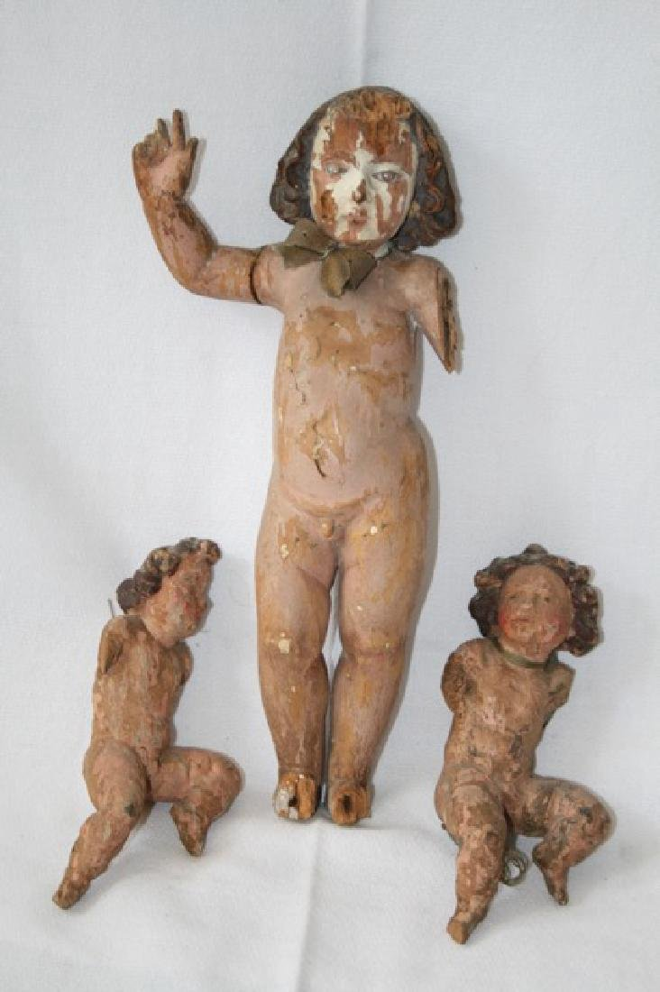 Italian 18th C Carved Wooden Putti Figures.