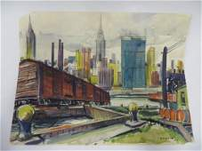 Sam Norkin Watercolor NYC Scene Signed