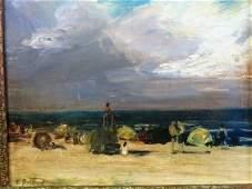 Edouard Potthast. Oil Beach Scene. Sgd.