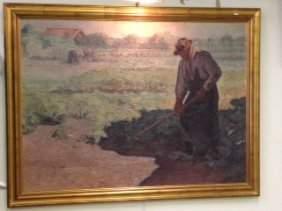 E. Zairis.  Oil. Farm Scene. Signed.