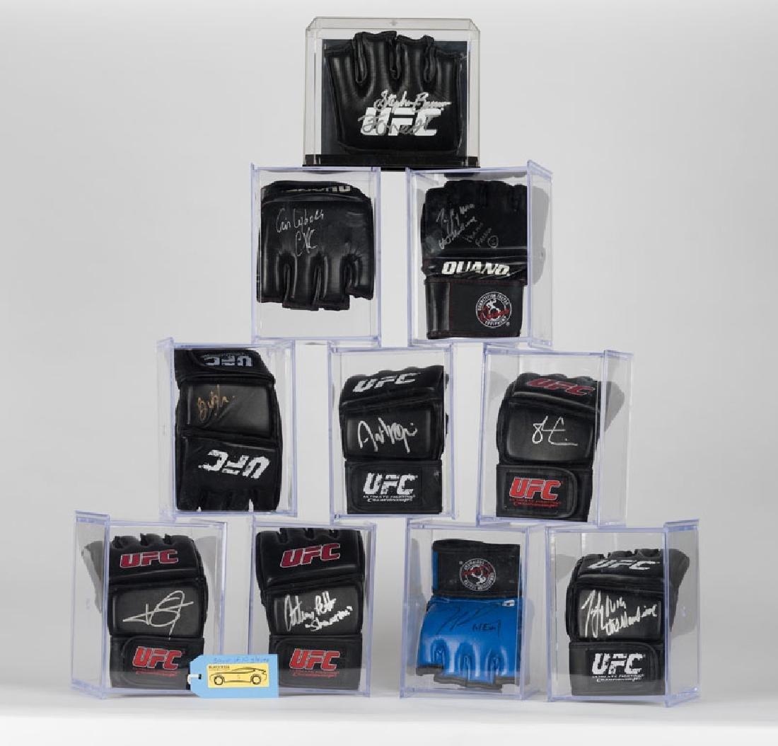 Set of 10 signed UFC gloves